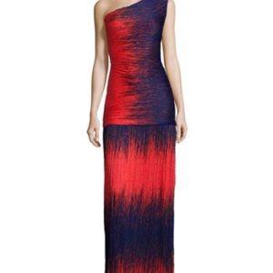 Halston Heritage Fire Windlines gown